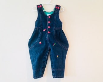 Vintage Blue Jean Baby Toddler Romper / One Piece Denim Girl Overalls Pants / Size 12 Months