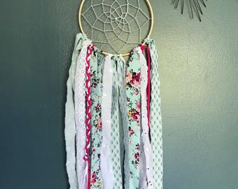 Dream catcher fabric in shades of blue, Green Pink and white