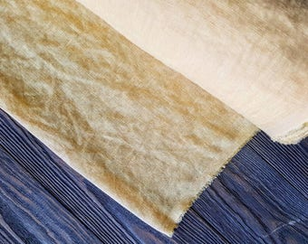 Light yellow linen fabric by the meter, softened natural linen yellow fabric, washed stonewashed soft yellow linen fabric by the yard 7oz