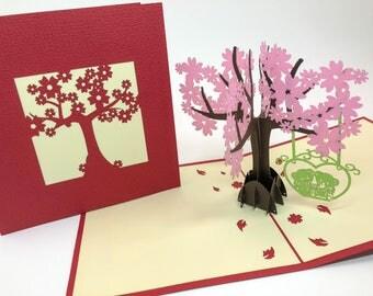 3D Cards - Valentine Card - Love Card - Pop Up Card - 3D Valentine Card -I Love You Card - Proposal - Paper Good-Flower Tree- Cherry Bolssom