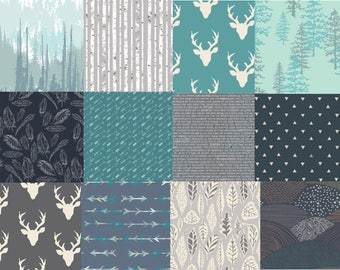Modern Woodland Cotton Fabric Bundle, Quilting Fabrics, Teal, Gray, Navy, Trees, Bucks, Elk, Antlers, Arrows, Feathers