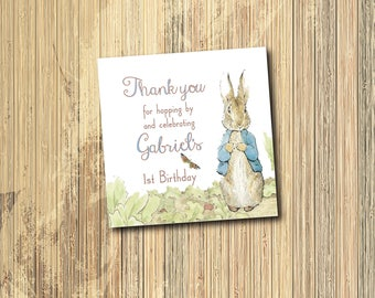 Peter Rabbit Birthday Party Favor Tag/DIGITAL FILE/printable/Beatrix Potter, vintage, thank you, bunny, 1st, first, baby shower