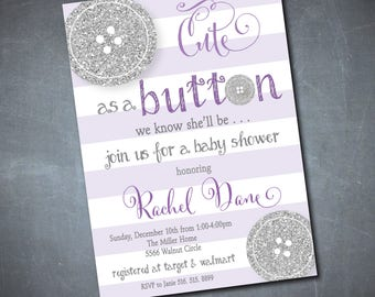 Cute as a Button Baby Shower Invitation/Digital File/printable/silver glitter, purple, neutral baby shower/Wording and colors can be changed