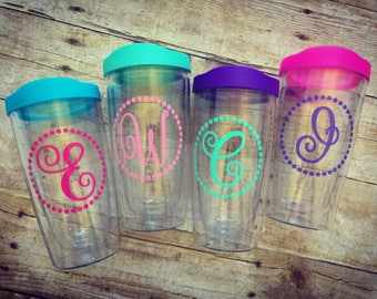 Personalized Tervis Style Acrylic Travel Tumbler, Coffee Tumbler, Monogrammed, Teacher Gift, Beach, Monogram, Double Walled, Patterned Vinyl