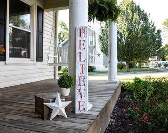 Believe pallet porch sign.  Believe, Believe sign, Christmas porch sign, Chirstmas, Christmas sign, Christmas decor, Rustic Christmas.