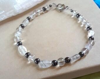 Tourmaline Quartz- Smokey Quartz Crystal Bracelet ~ Healing Crystal Bracelet~ Smokey Quartz- Tourmaline Quartz Bracelet~ Healing Stones~