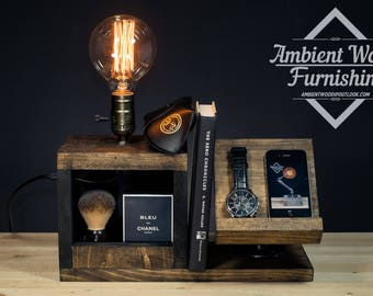 Wood Bedside Utility Storage Box Lamp With Pipe Stand Electronic Docking Station & Apple watch dock charger