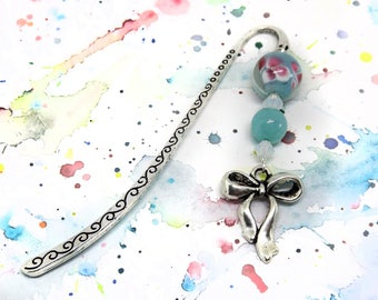 Bow charm bookmarks - Sky blue bookmark - Aquamarine bookmark - Cute bookmark for girl - Small metal bookmark with bow