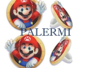 Super Mario Cupcake Topper, Mario Cupcake Ring Topper