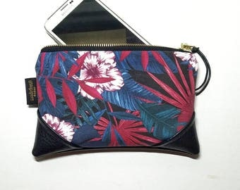 Mini Jungle Hibiscus Zipper Pouch / Mini Clutch with inside lining and Zipper Pull or Leather Wristlet Strap