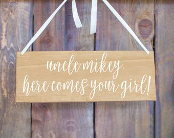 Here Comes Your Bride Sign - Personalized Here Comes Your Bride Sign - Flower Girl Sign - Ring Bearer Sign - Here Comes Your Bride
