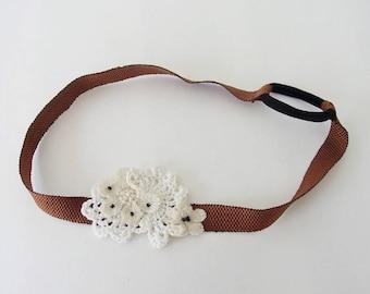 """""""Flora"""" hand crocheted white headband"""