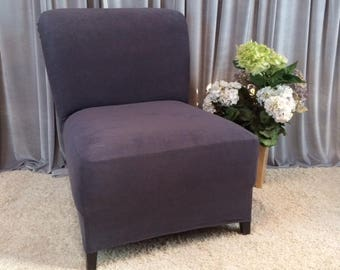 Slipcover Dark Gray Suede Chair Cover For Armless Chair, Slipper Chair, Armless  Accent Chair