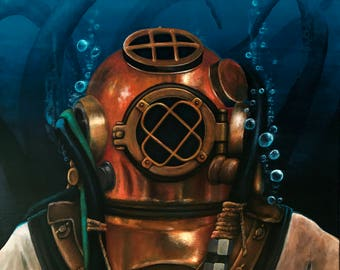 20 in. x 24in. hand-painted acrylic on canvas - Deep Sea Diver with octopus