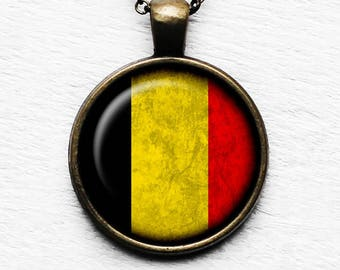 Belgium Belgian Flag Pendant & Necklace