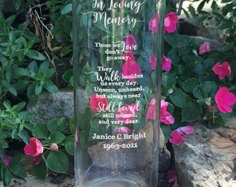 1 Personalized Memorial Vase - In Loving Memory Vase -Floating Wedding Memorial Candle - Memorial Candle - Engraved Memorial Cylinder