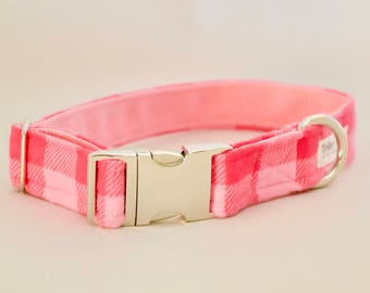 Pink Buffalo Plaid Dog Collar - Plaid Dog Collar - Girl Dog Collar - Girl Puppy Collar - Buffalo Plaid Dog Collar - Trendy Dog Collar