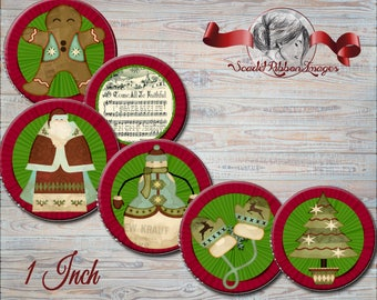 Old World Christmas Bottle Cap Images 1 inch round circles Country Christmas images for bottle caps, bows, party favors and more