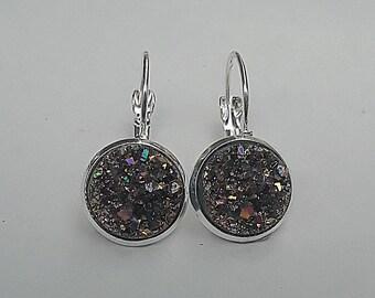Glitter Druzy French Lever Back Threader Earrings, Druzy Earrings, Druzy Jewelry, Glitter Earrings, Evening Earrings, Gift for Her,