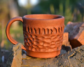 Clay mug, pottery ceramic cup