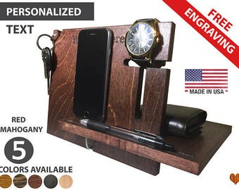 Personalized Docking Station, Custom Organizer, Gifts For Boyfriend, Gifts For Men, Valentine Day, Groomsmen Gift , Gift For Dad