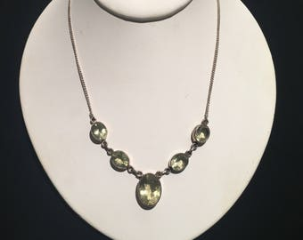 Lemon Quartz Necklace ...Vintage Necklace...Sterling Silver ...1980s...Gypsy...Hippie...gem stone...Ethnic...Gift...Vintage Shop