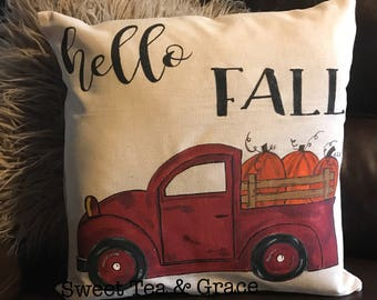 Vintage Truck, Fall Pillow Cover, Pillow Cover, 18 x 18 Pillow Cover, Fall Home Decor, Decorative Pillow, Fall Decor, Hand Painted, Pumpkin