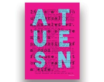 AUSTEN - Pride & Prejudice A5 Greeting Card - Jane Austen - Pink - Minimal - Bold - Literature-Inspired