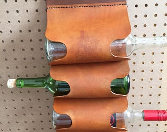 Hanging Leather Wine Rack