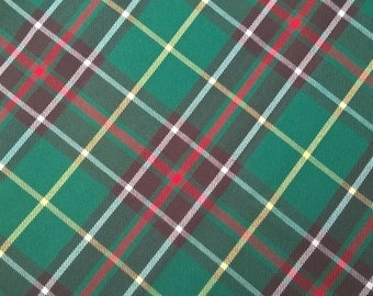 Green Tartan Fabric, Green Plaid Fabric, Red and Green Plaid, Twill, Newfoundland Tartan, Sewing, Crafts, Garments, by the Yard / Half Yard