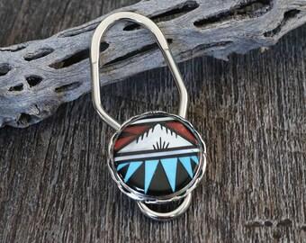 Native American,turquoise,sterling,Zuni,native,native american keychain,Native American Art,sterling silver, Zuni Inlay Key Chain