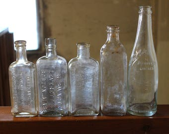 Vintage Lot of 5 Antique Glass Apothecary Bottles and Jars Empty