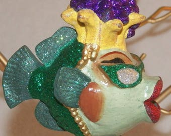 "Katherine's Collection ""Carmen Miranda"" Kissing Fish Ornament"