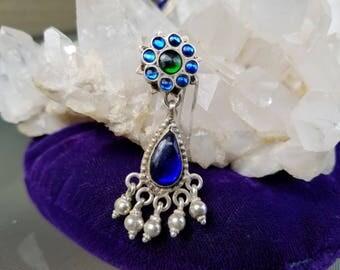 Cobalt Handcut Glass Sterling Silver Earrings