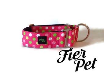 martingale collar, dog martinguale collar,multidot pink ,whippet collar, greyhound collar