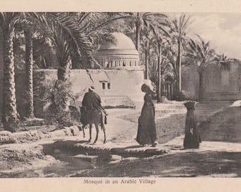 FREE POST - Old Postcard - EGYPT Mosque in Arabic Village  - Vintage Postcard - Unused