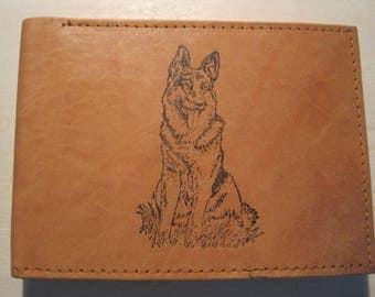 "Mankind Wallets Men's Leather RFID Blocking Billfold w/ ""German Shepherd Dog"" Image~Makes a Great Gift!"