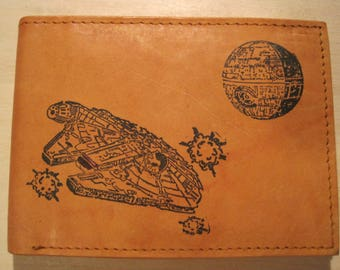 """Mankind Wallets Men's Leather RFID Blocking Billfold with """"Star Wars Millennium Falcon"""" Image~Makes a Great Gift!"""
