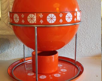 RARE COLLECTIBLE Mid Century Modern Catherine Holm Orange Enamel Fondue Pot Lotus Vintage Enamel Retro Kitchenware Vintage Fondue