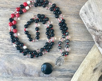 Onyx 108 Mala Beads/ Mala Necklace /Mens Mala Beads / Gifts for Her/ Prayer Beads/ Men Jewelry / 108 Knotted Mala/Yoga Necklace/