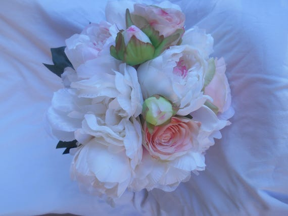 Large round  Bridal bouquet 14'' made of Peonies  blush pink , ivory and white  roses Free groom bout