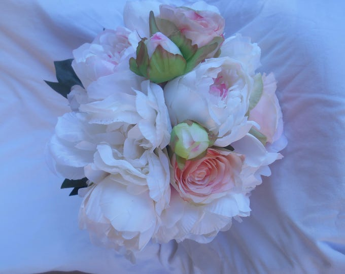 Peones and roses bridal wedding bouquet blush pink and ivory large bouquet and boutonniere