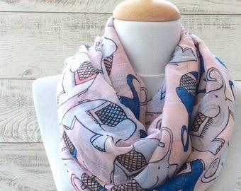 Gifts For Her Elephant Scarf Infinity Scarf Pink Scar Scarf Spring Infinity Scarf Purple Scarf Animal Print Scarf Light Cotton Scarf