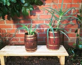 2 x Small Wine Barrel Planters / Pot Plants