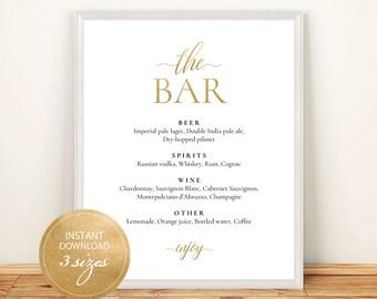 Pdf Template Bar Menu 8x10, 11x14, 16x20 Gold Wedding Bridal Shower INSTANT DOWNLOAD Diy Bar Menu Editable Alcohol Menu Printable #DP130_11