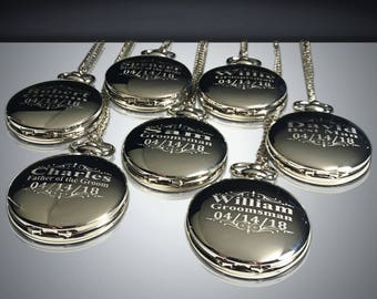 8 Groomsmen gifts - 8 Silver polished engraved pocket watches - Best Man, Usher, Officiant gift- Custom engraved gift -Wedding gifts for him