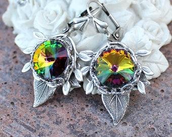 Rainbow leaves earrings with swarovski crystals