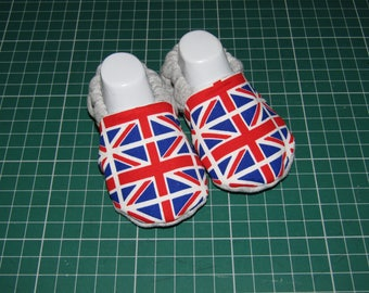 Union Jack Baby booties, available in sizes up to 24 months.
