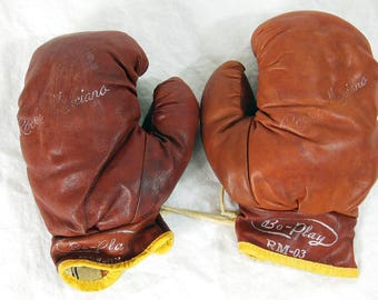 Vintage Kids Leather Boxing Gloves, Bo-Play RM-03, Rocky Marciano