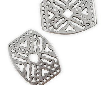 Spacer plate silver filligree antiqued 14 holes